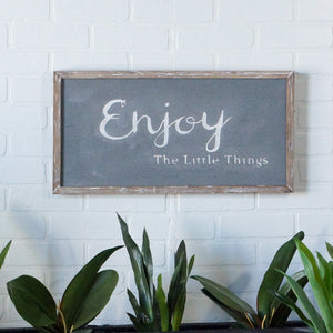 Gray Textured Enjoy Wall Sign