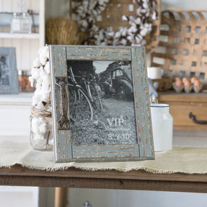 Scraped Wood 8X10 Picture Frame With Decorative Metal Handle