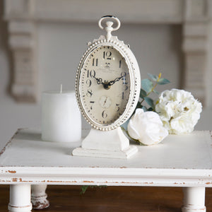 Metal Table Clock White