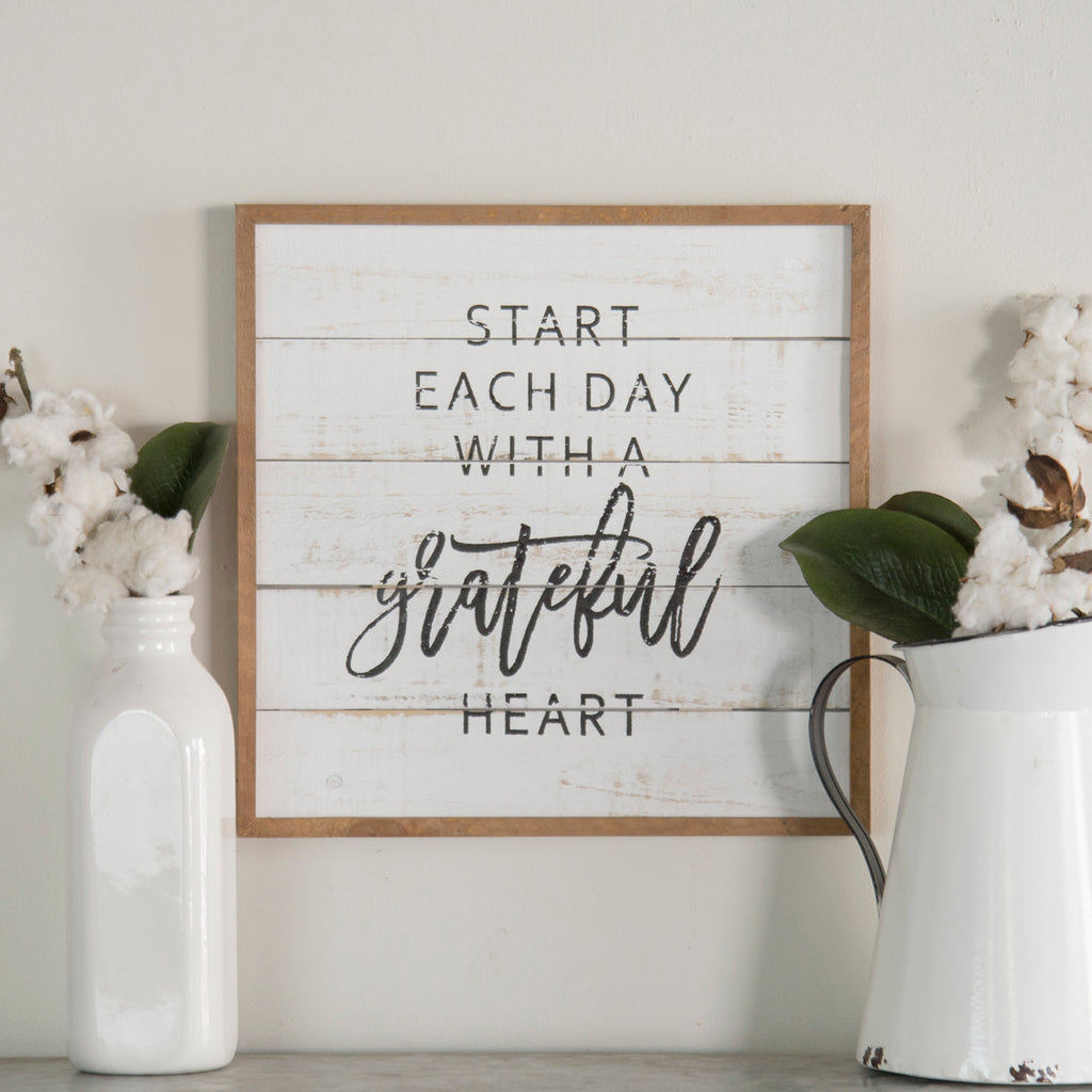 Grateful Heart Sign on Shiplap