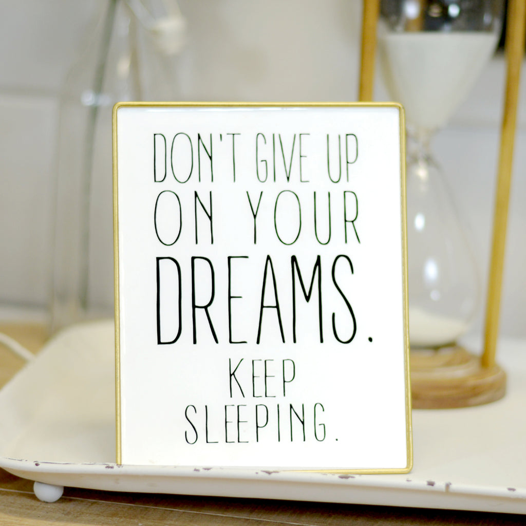 Keep Sleeping Sign With Gold Trim