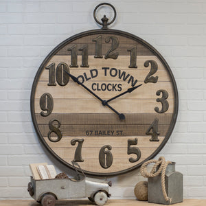 Metal/Wood Clock 35""