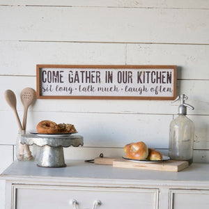 "Wood Sign ""Come Gather"""