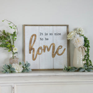 "Layerd Wood Framed ""Home"" Sign"