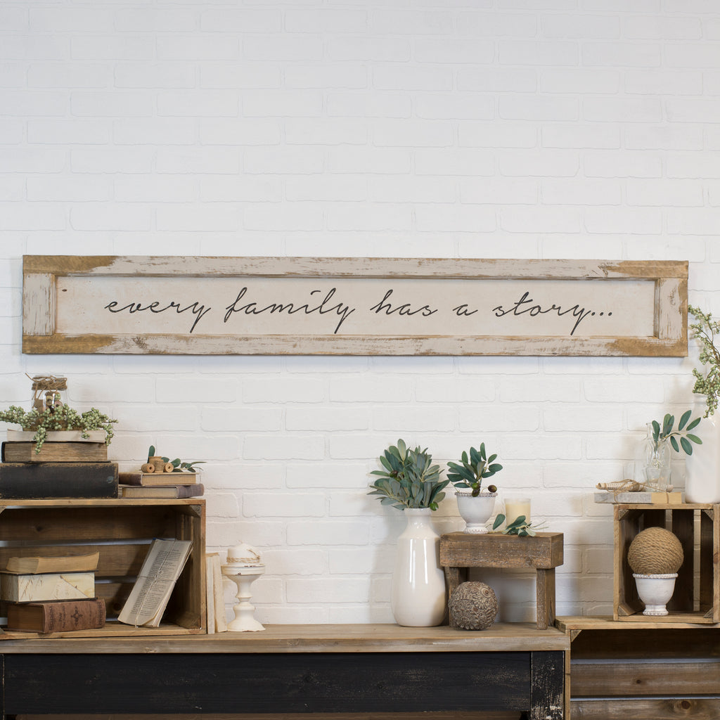 "Wood Sign ""Every Family"" with Distressed Finish"