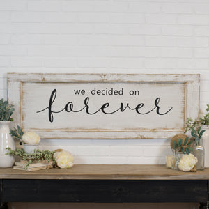 "Wood Sign ""Forever"" with Distressed Finish"