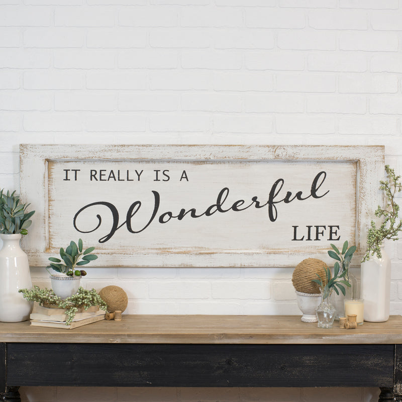 "Wood Sign ""Wonderful Life"" with Distressed Finish"