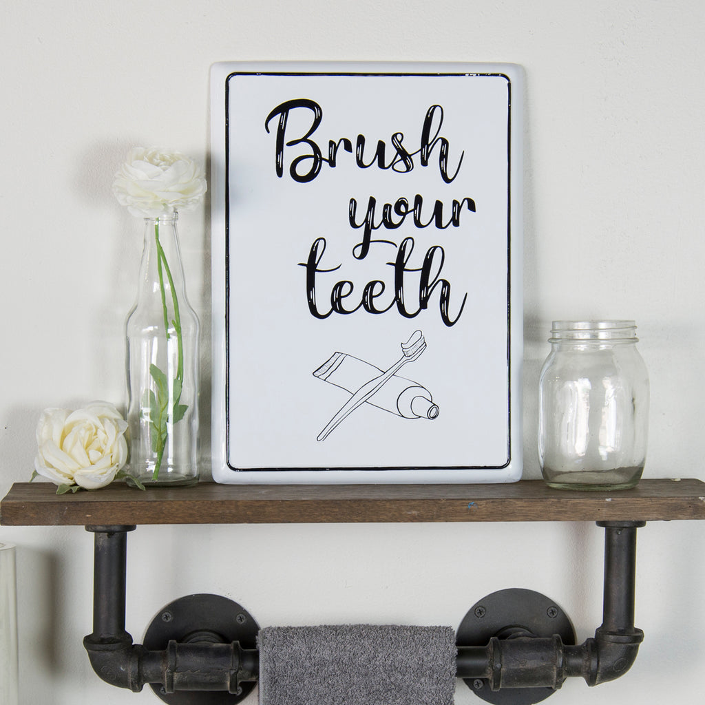 Brush Your Teeth Enamel Sign