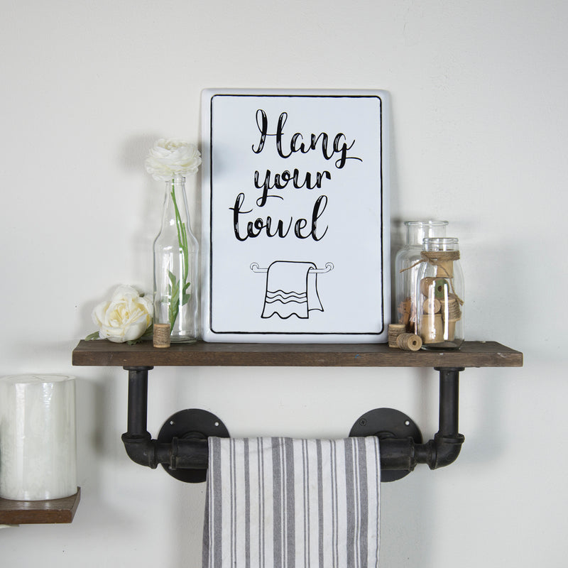 Hang Your Towel Enamel Bath Sign