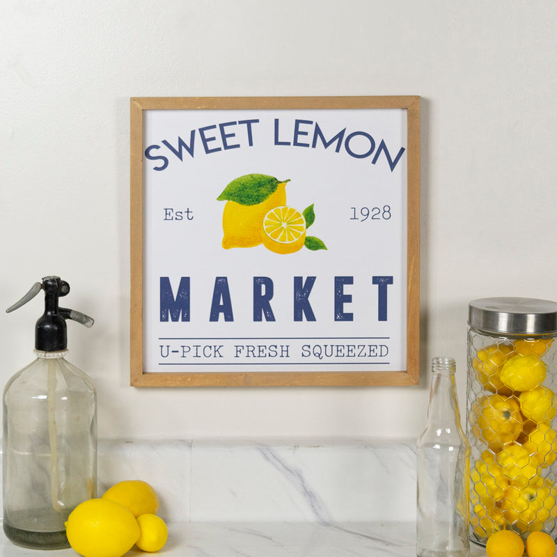 "Wood Sign ""Lemon Market"""