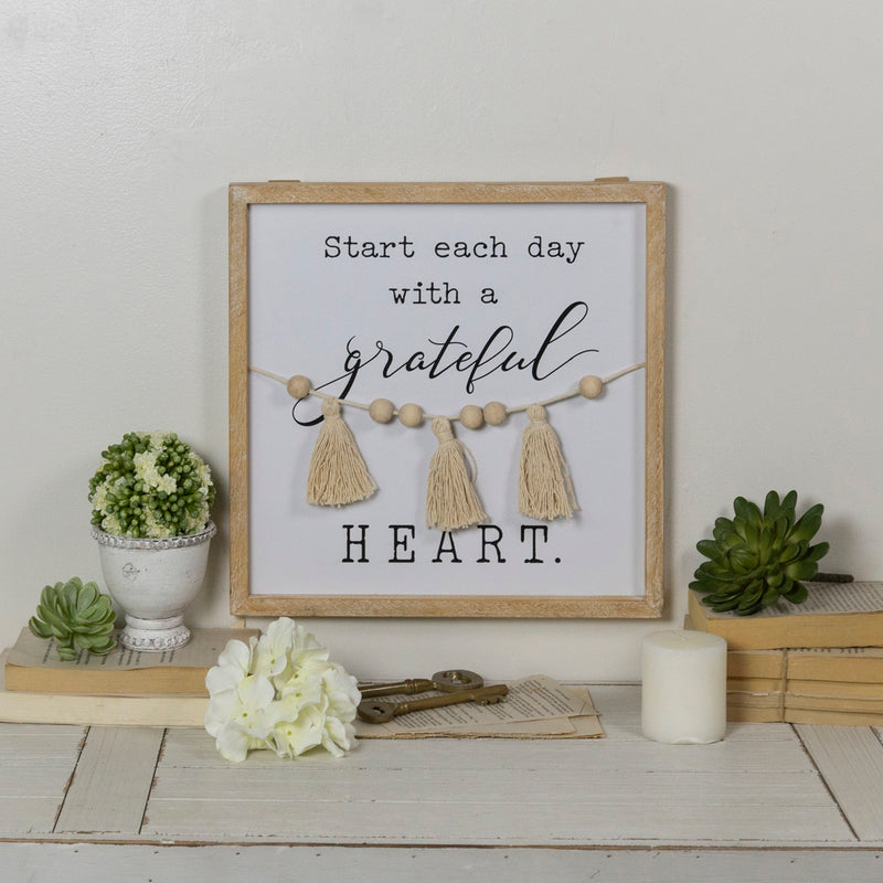 "Wood Sign ""Grateful Heart"""