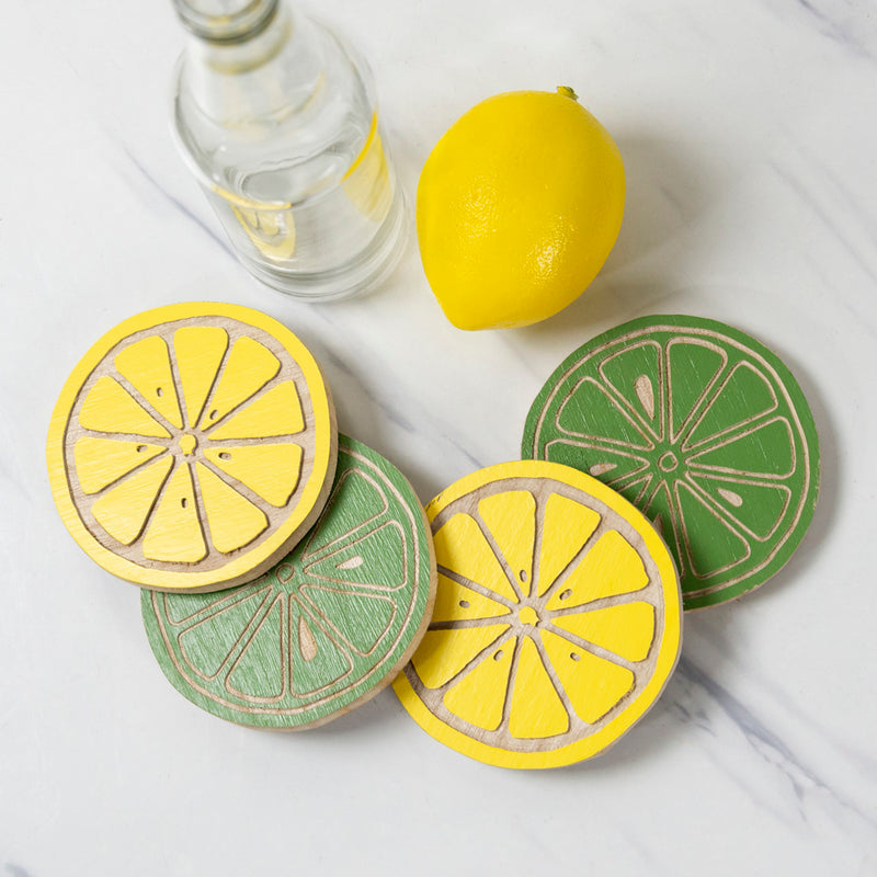 Wood Lemonade Coasters Set/4