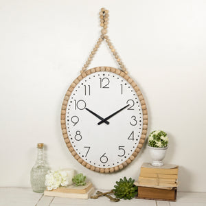 Wall Clock W/ Beads with Antique Finish