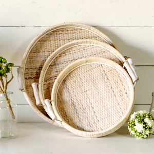 Set of 3 Wicker Trays