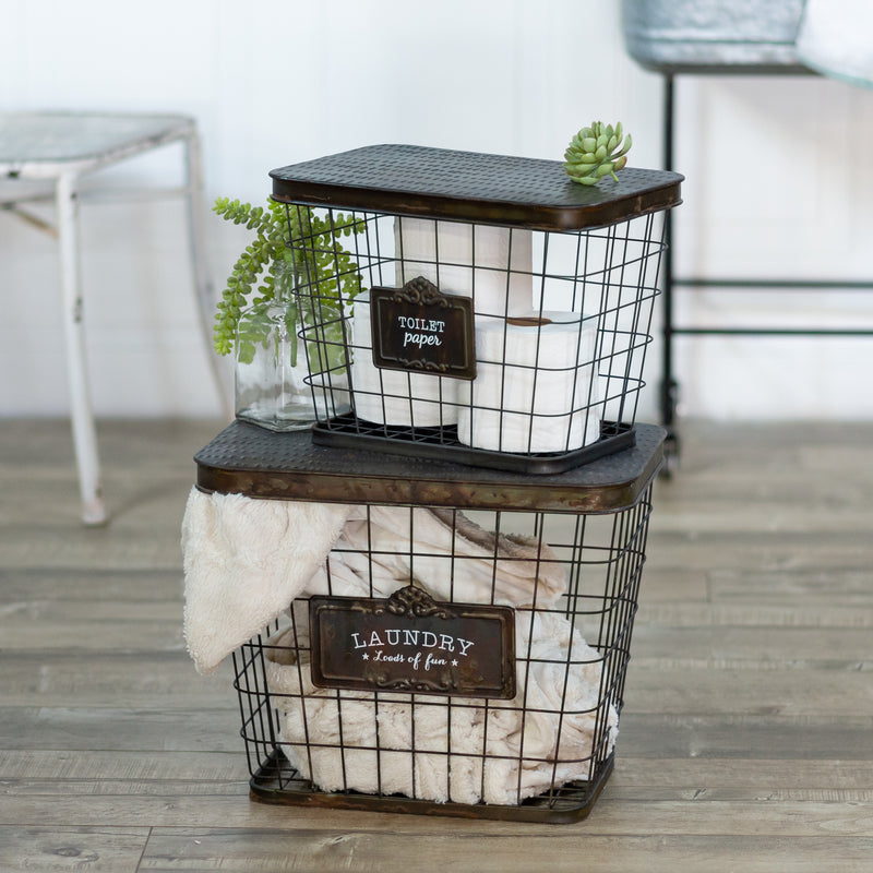 Metal Baskets S/2 with Antique Finish