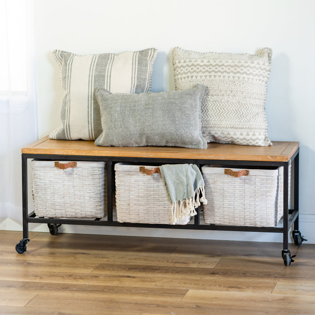 Metal And Wood Bench with Solid Metal Frame