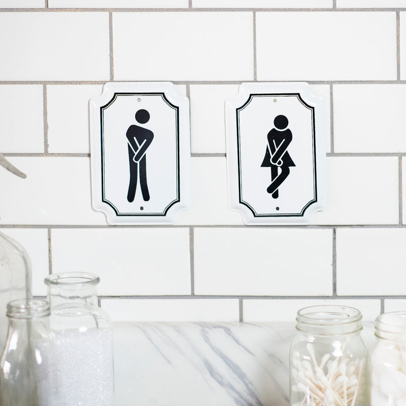 Set of 2 Enamel Bathroom Signs