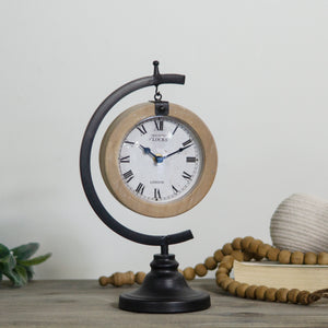 Metal And Wood Table Clock with Distressed Paint