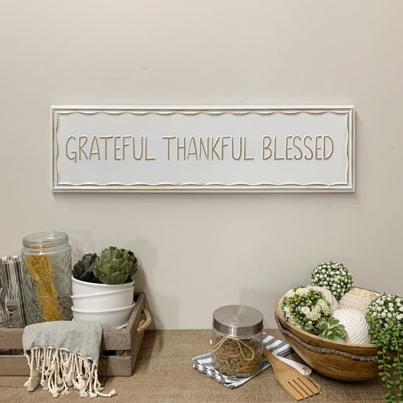 Embossed Metal Grateful Wall Sign