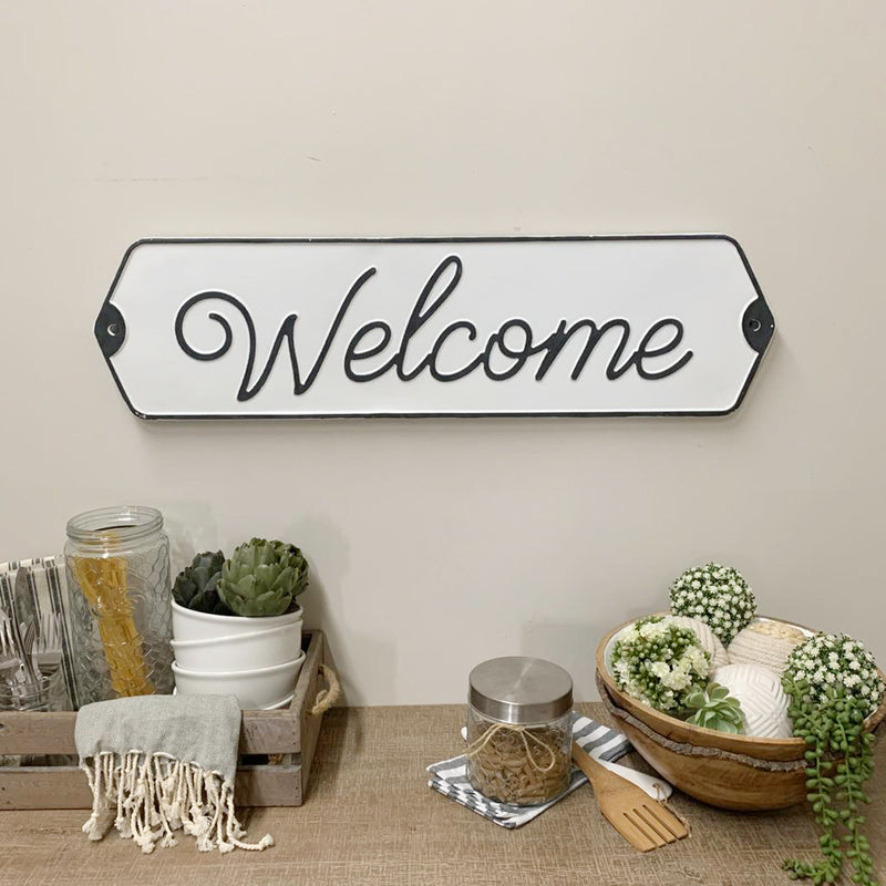 Embossed Metal Welcome Sign