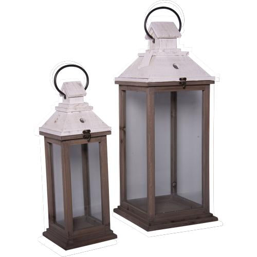 Set of Two White Top Lanterns