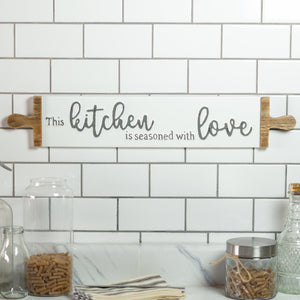 "Metal Sign ""Kitchen/Love"" with Gloss Distressed Finish"