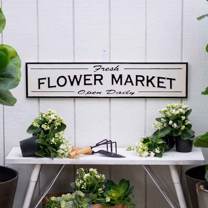 "Metal Sign ""Flower Market"" with Distressed Gloss Finish"