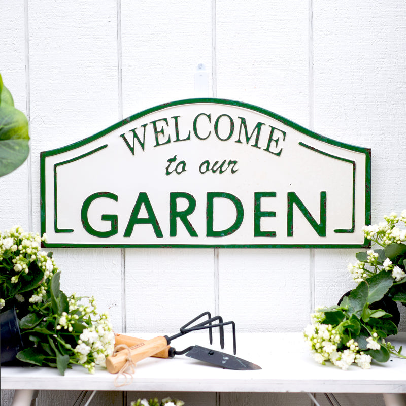 "Metal Sign ""Garden"" with Gloss Finish"