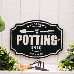 "Metal Sign ""Potting Shed"" with Gloss Finish"