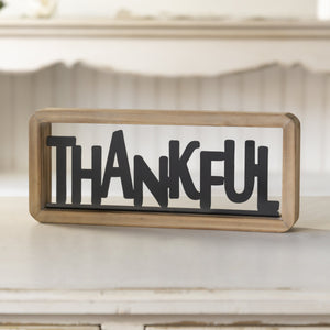 """Thankful"" Tabletop Sign 12"""