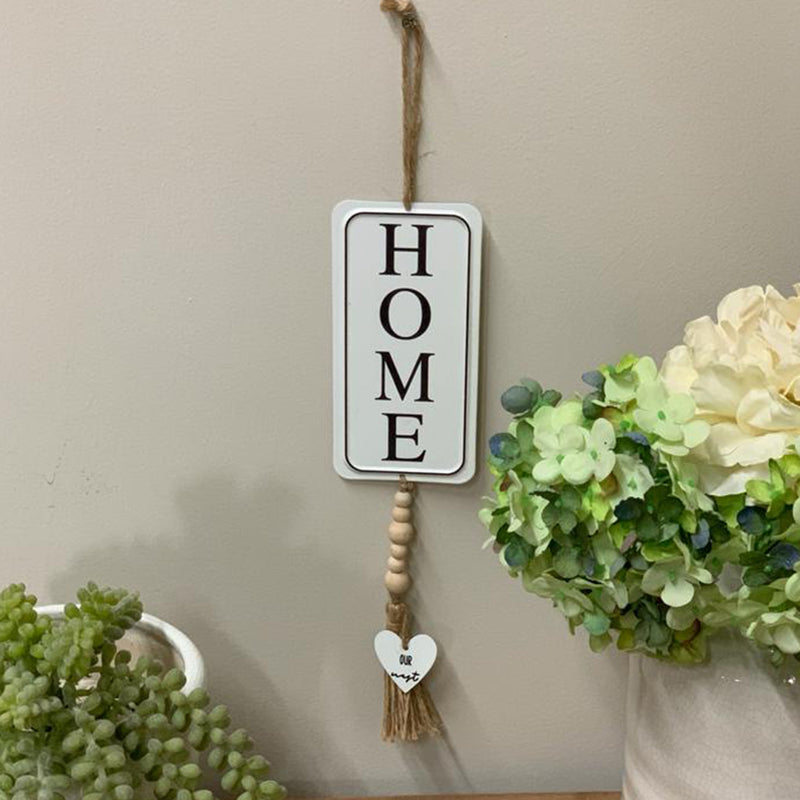 Metal Hanging Home Sign with Beads