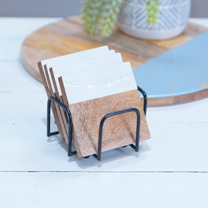 MANGO WOOD COASTERS SET/4 - WHITE