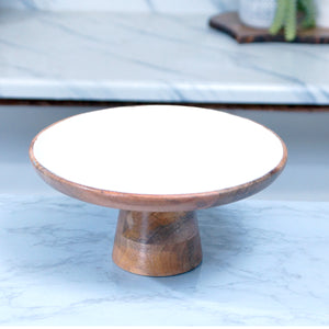 MANGO WOOD CAKE STAND - WHITE