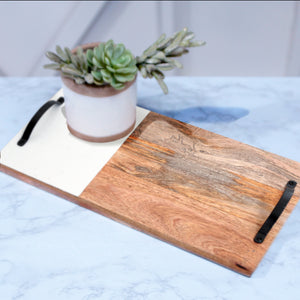 MANGO WOOD TRAY - WHITE
