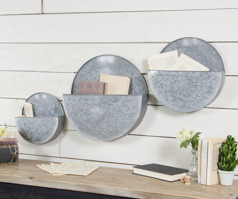 Metal Wall Planters Set/3 with Distressed Finish