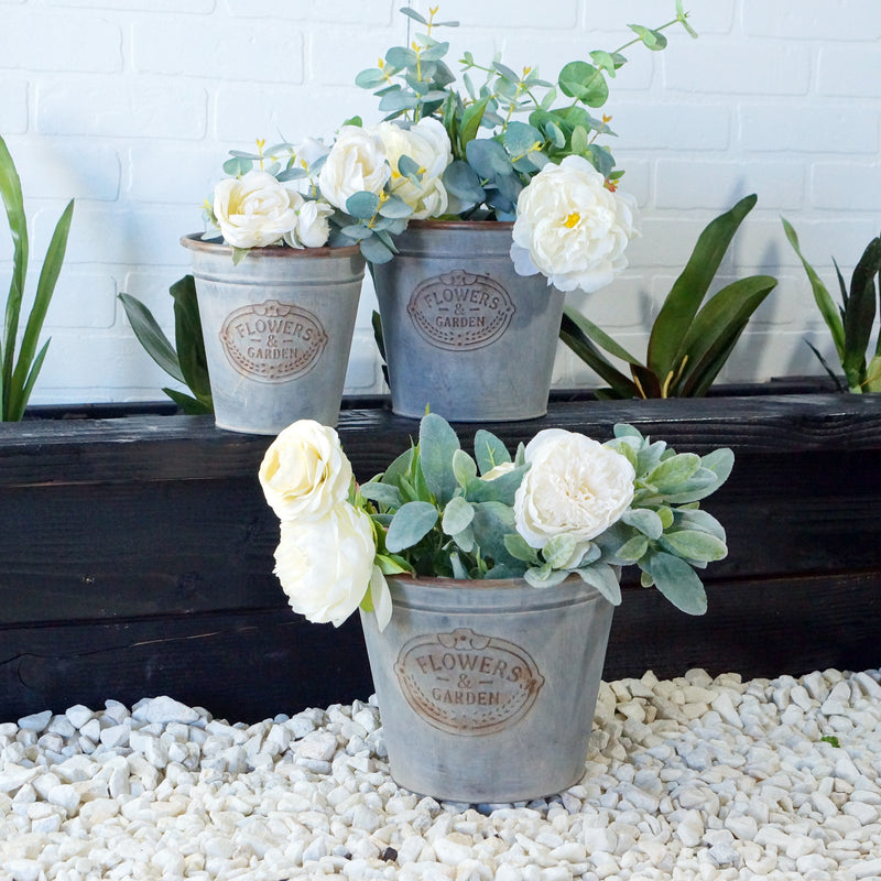 Metal Set of Planter Buckets with Embossed Plaque