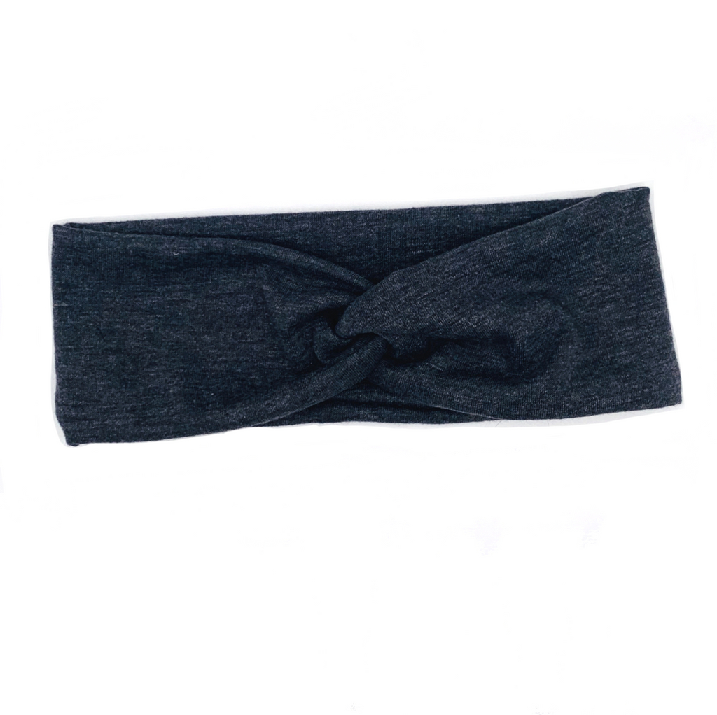 Grey Solid Knotted Headband