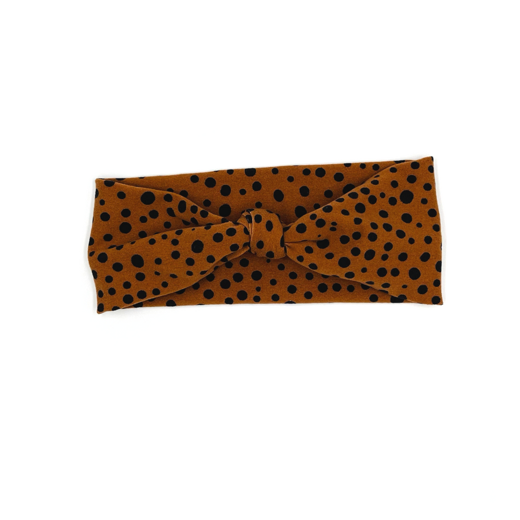 Children's Brown Speckled Spots Top Knot Headband