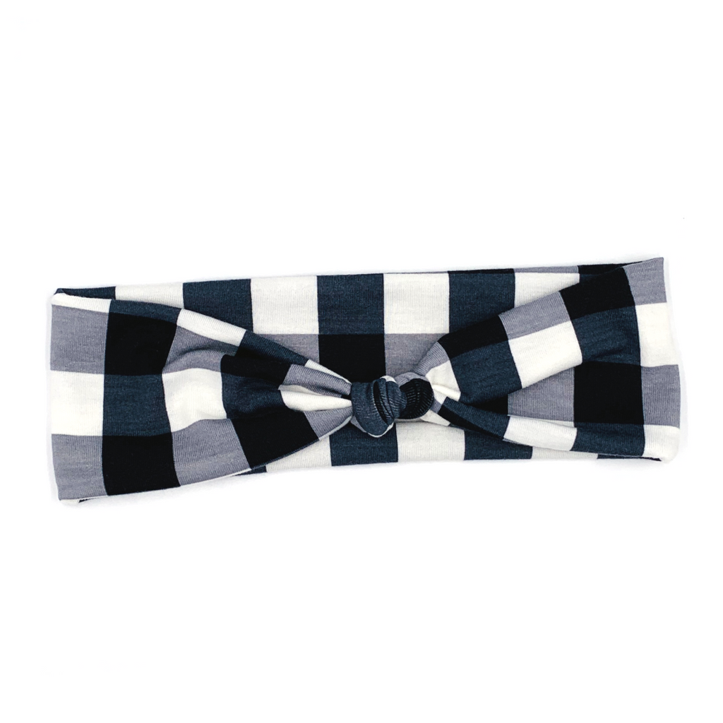 Buffalo Plaid (Grey) Top Knot Headband