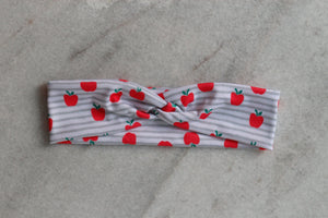 An Apple a Day (grey stripes) Knotted Headband