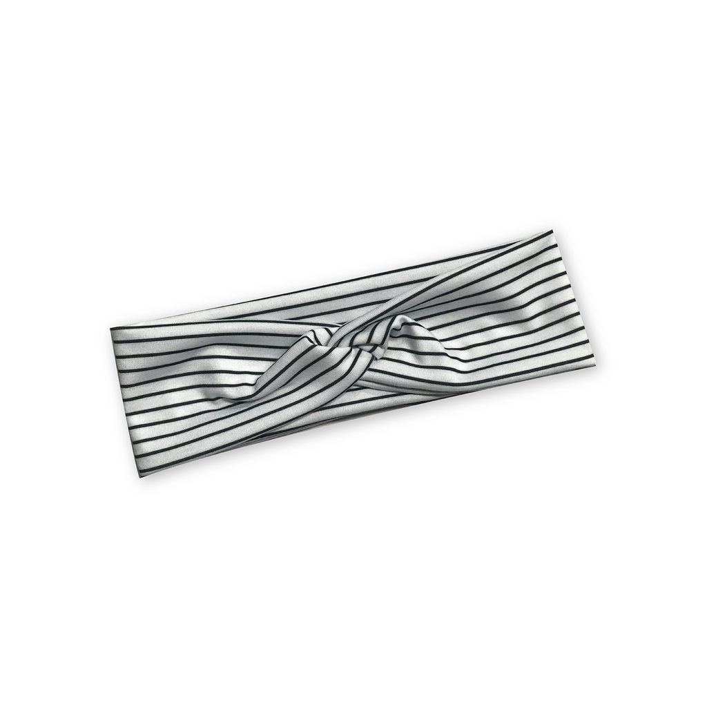 Black and White Striped Knotted Headband