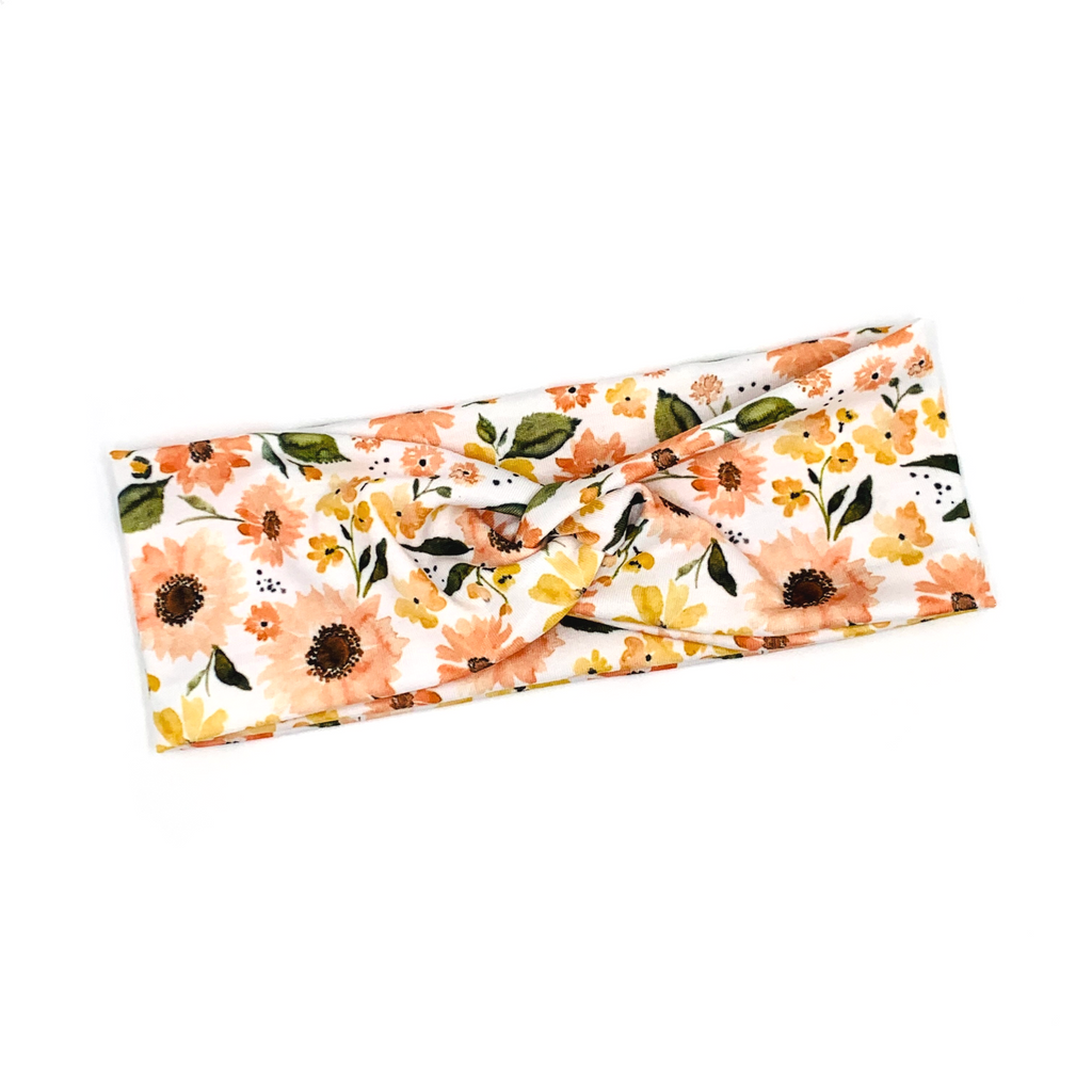 Peachy Sunflower Knotted Headband