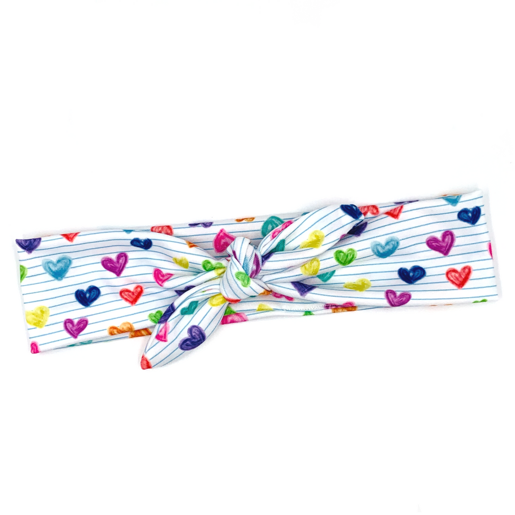 Colored Pencil Love Tied Headband