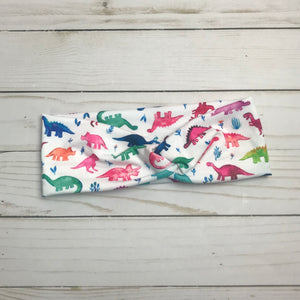 Dinosaur Stomp (multicolored) Knotted Headband