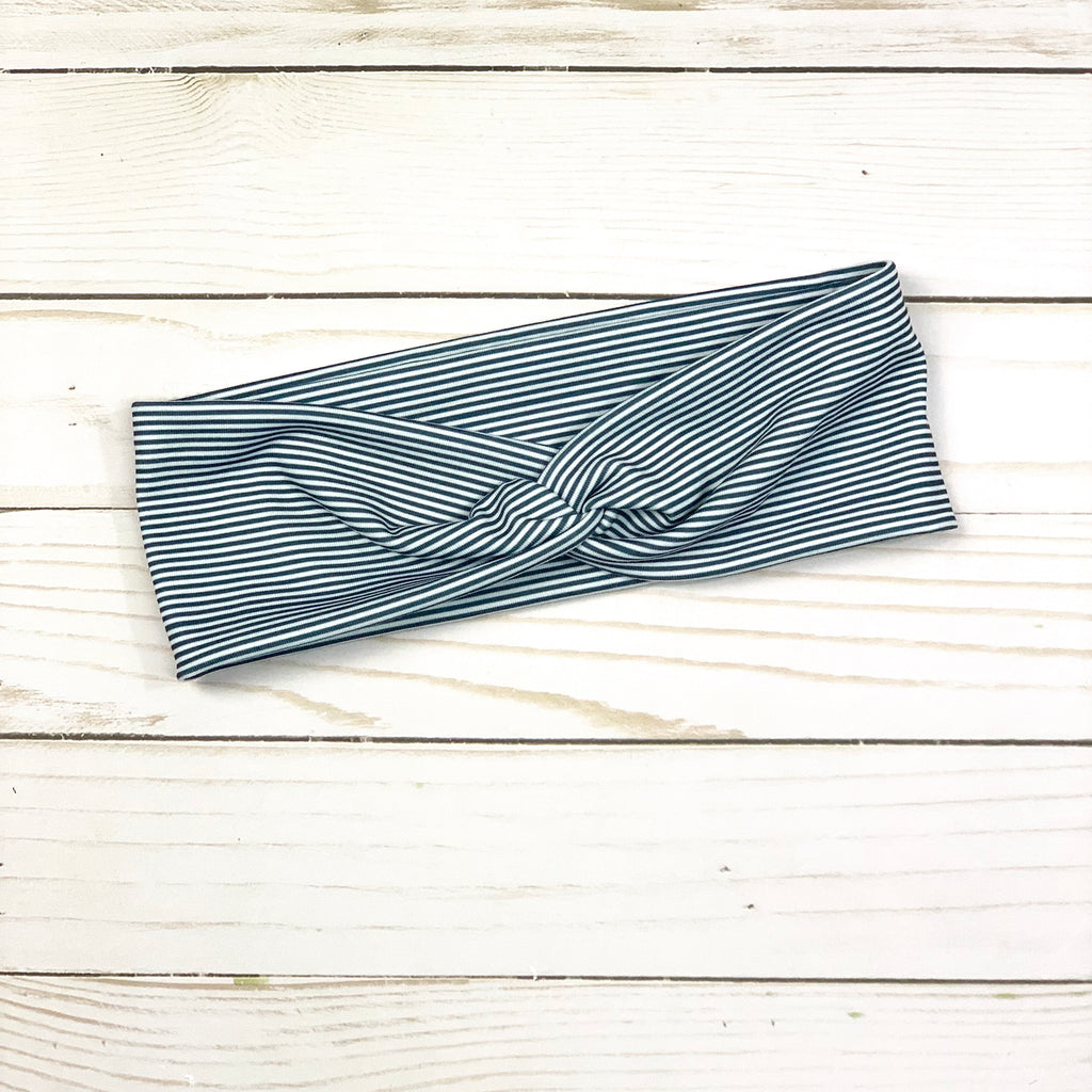 Charcoal Grey and White Striped Knotted Headband