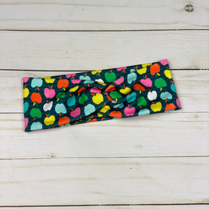 An Apple for the Teacher (dark grey) Knotted Headband