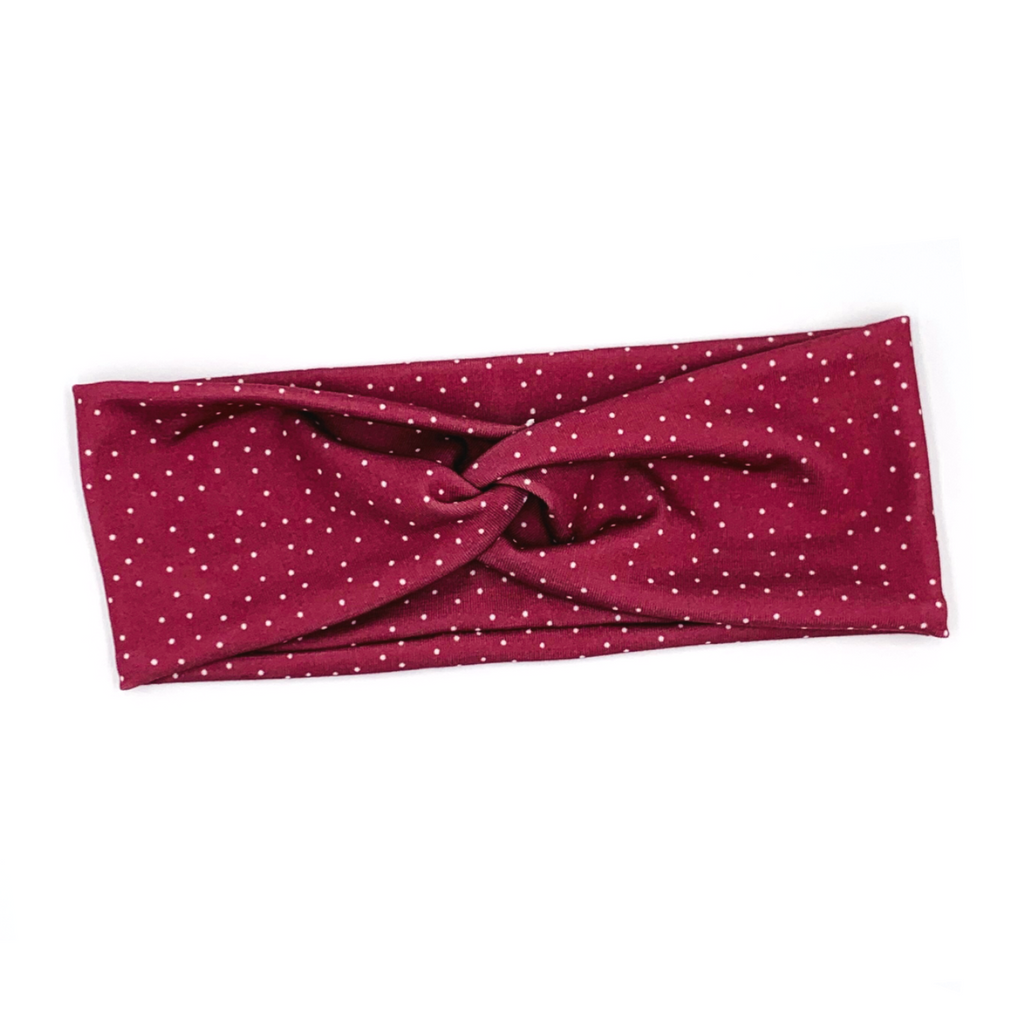 Rust Red Polka Dots Knotted Headband