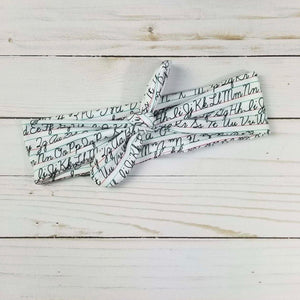 Cursive ABC Tied Headband