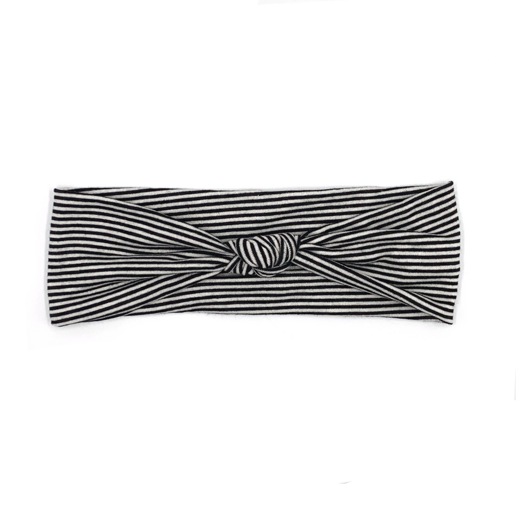 Black and White Striped Top Knot Headband