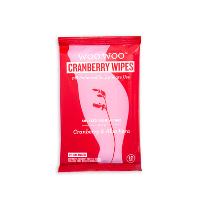 WooWoo Refresh It! Cranberry & Aloe Intimate Wipes x12